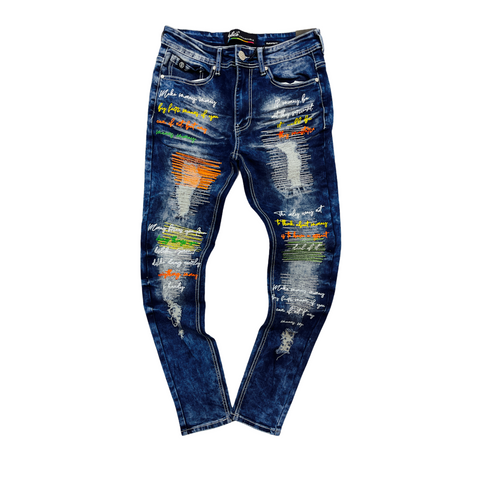 Switch Slim Taper Fit 'Make Money' Denim (M.Blue SFO615)