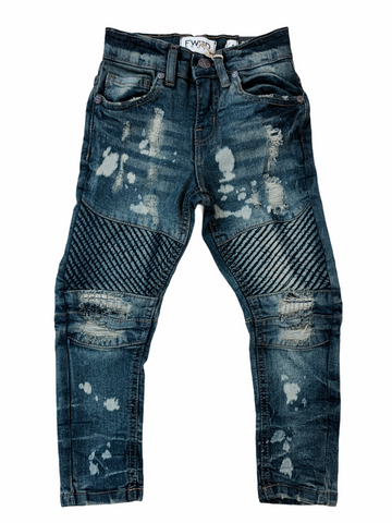FWRD Kids Biker Denim w/ Rips (Dark Tint)