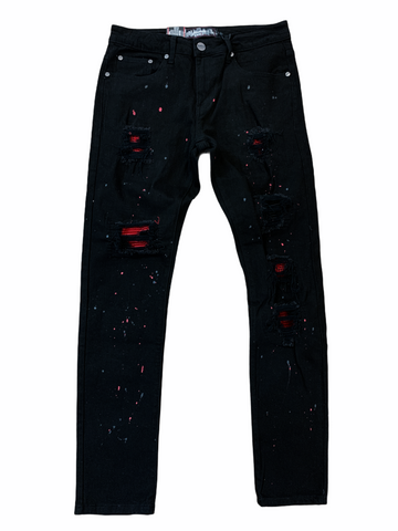 Denim City Ripped Denim w/ Stones (Black/Red)