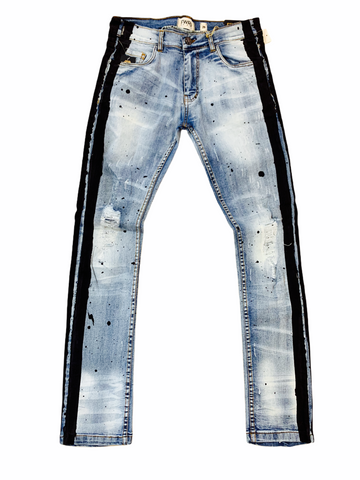 FWRD Distressed Denim w/ Side Stripe (Blue/Black)