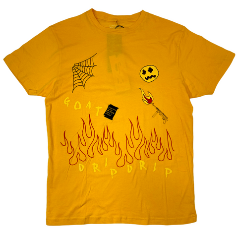 Cooper 9 'Flame On Drip' T-Shirt (Mustard)