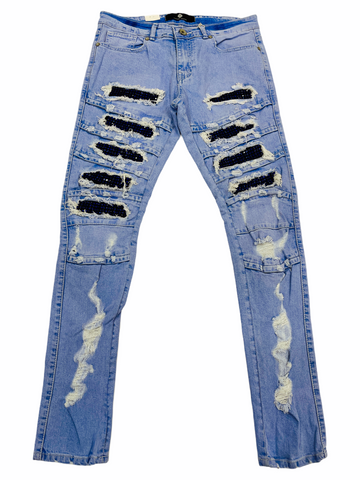 Focus Ripped Denim w/ Rhinestones (Lt.Wash/Royal)