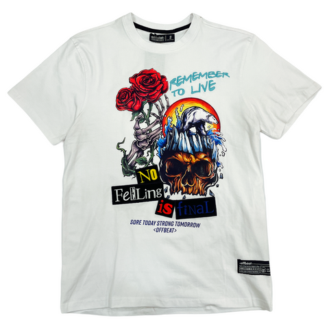 Offbeat 'Remember To Live' T-Shirt (White)