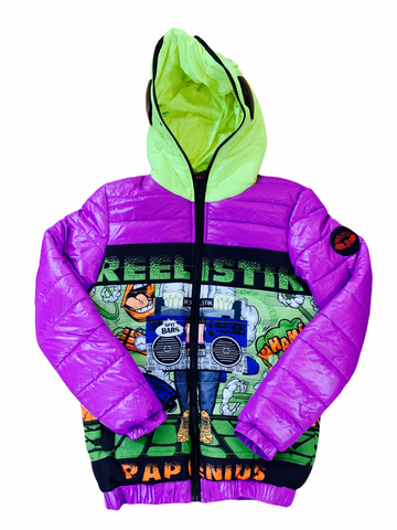 Reelistik 'Spit Bars' Puffer Jacket (Purple/Green)