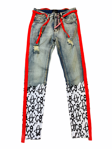 Cooper 9 'C9 Graffiti' Stripe Denim (Black/Red)