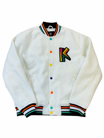 Switch 'Ultimate King' Letterman Jacket w/Removable Fur (Off White)