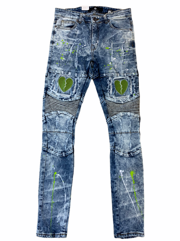 Focus Heartbreak Denim w/Splatter (Blue Wash/Lime)