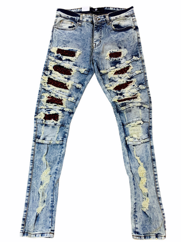 Focus Ripped Denim w/ Rhinestones (Dirt Wash/Red)