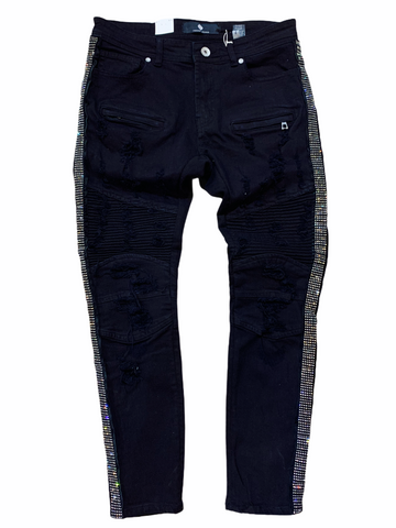 Focus Rhinestone Stripe Denim - Blk/Silver - Fresh N Fitted