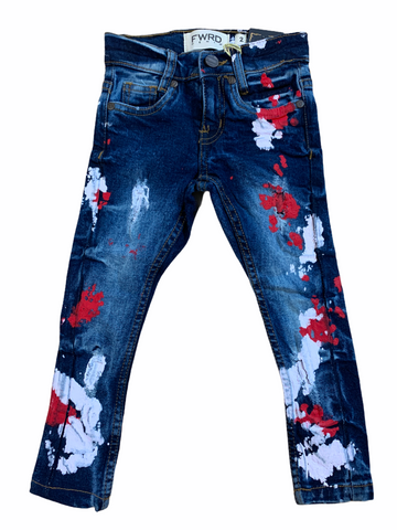 FWRD Kids Denim w/Paint (S.Blue/Red/White)