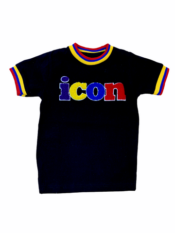 Evolution Kids 'icon' Chenille Patch T-Shirt (Black)