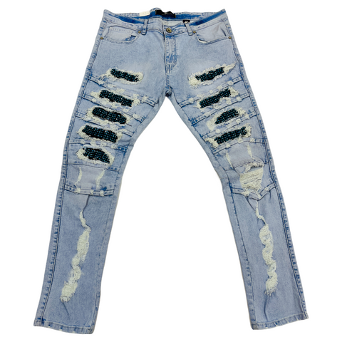 Focus Ripped Denim w/ Rhinestones (Lt.Wash/Turquoise)