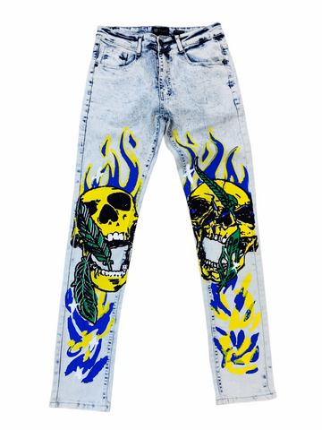 Waimea Skull Denim (Ice Blue/Yellow)