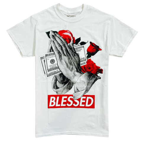 3Forty Inc. 'Praying Blessed' T-Shirt (White)