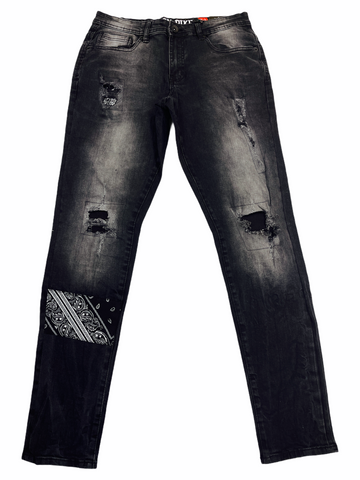 Black Pike Paisley Patched Denim (Black Wash)