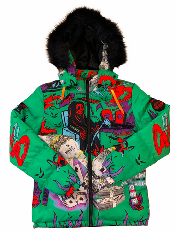 Reelistik 'Magic' Puffer Jacket w/Removable Fur and Hood (Green)
