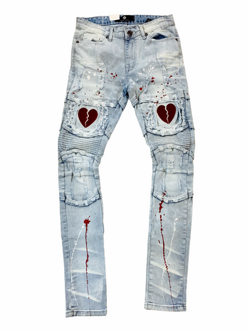 Focus Heartbreak Denim w/Splatter (Lt.Wash/Red)