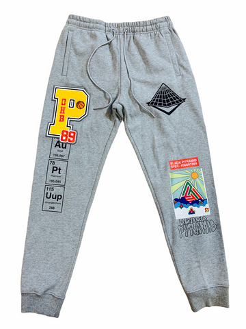 Black Pyramid Chenille Patch Joggers (H.Grey)