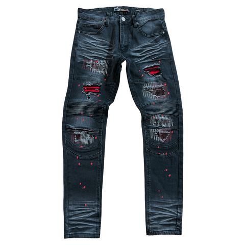 Switch Rip and Repair Moto Denim (Blk.Wash)