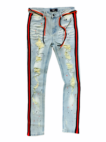 DNA Stripe Denim Blk/Red - Fresh N Fitted