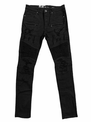 Waimea Distressed Moto Denim (Black)