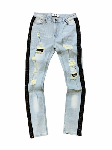 DNA Rhinestone Stripe Denim - Gold - Fresh N Fitted