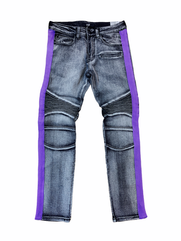 Ops Moto Denim w/ Side Stripe (Black Wash/Purple)