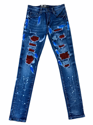 Waimea Distressed Painted Denim w/ Rhinestones (Blue Wash/Red/Blue)