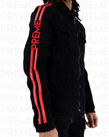 Preme Affinity Infrared Striped Black Denim Jacket