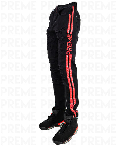 Preme Affinity Infrared Striped Black Denim
