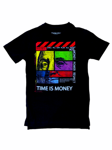 Evolution Kids 'Time Is Money' T-Shirt (Black)