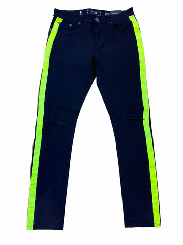Spark Stretch Denim w/ Stripe (Black/Lime)