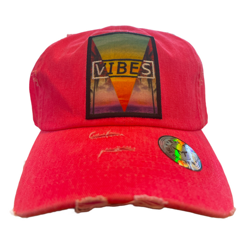 'Vibes' Dad Hat (Neon Pink)