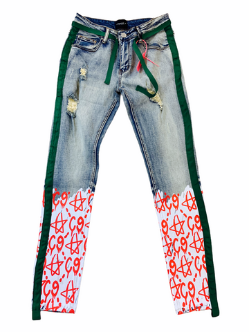 Cooper 9 'C9 Graffiti' Stripe Denim (Red/Green)