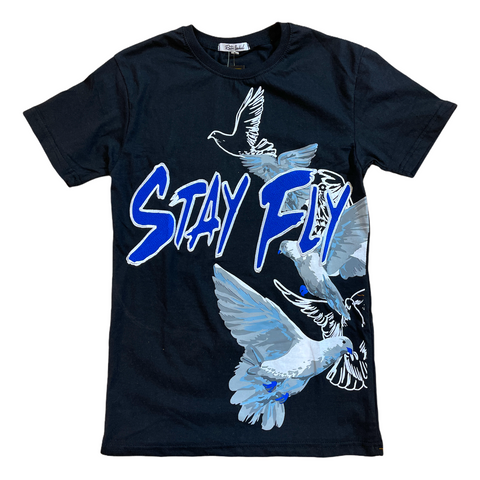 Retro Label 'Stay Fly' T-Shirt (Black)