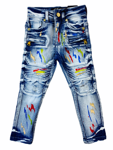 Elite Denim Kids Biker Denim w/ Paint (Bay Side)