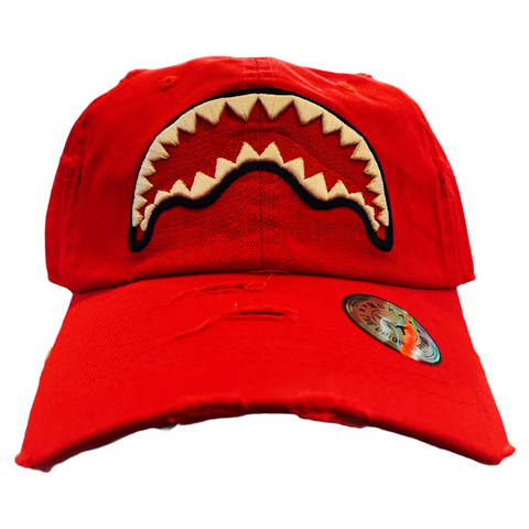 'Shark Mouth' Dad Hat (Red)