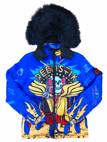 Reelistik 'Skulls' Puffer Jacket w/Removable Fur and Hood (Blue)