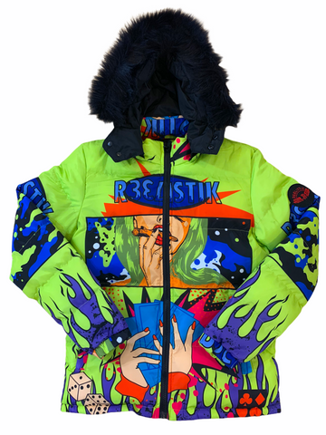 Reelistik 'Money' Puffer Jacket w/Removable Fur and Hood (Lime)
