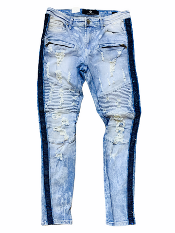 Focus Rhinestone Stripe Denim - Blue