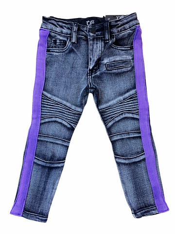Ops Kids Biker Denim w/ Stripe (Grey/Purple)