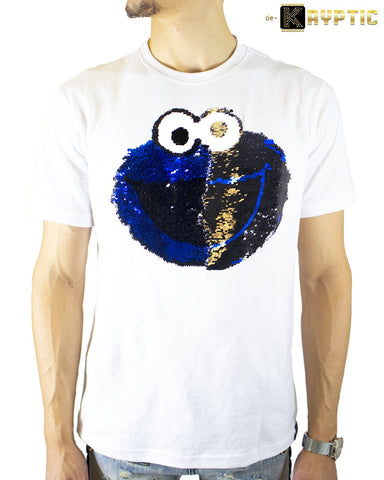 De-Kryptic x Cookie Monster Sequin T-Shirt (White)