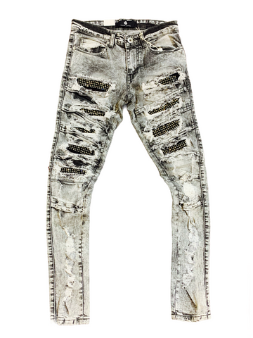 Focus Ripped Denim w/ Rhinestones (Grey)