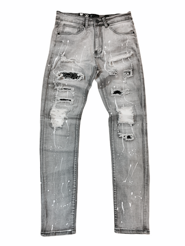 Waimea Distressed Denim w/ Splatter (Grey)
