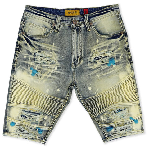 Makobi 'Malaquite' Biker Shredded Denim Shorts (Dirt Wash)