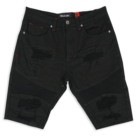Makobi 'Malaquite' Biker Shredded Denim Shorts (Black)