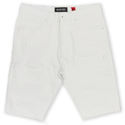 Makobi 'Avlaki' Shredded Denim Shorts (White)