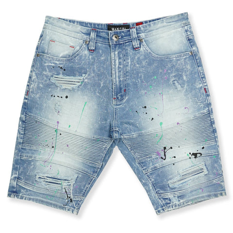 Makobi 'Willard' Biker Denim Shorts (Lt.Wash)