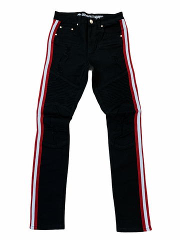 Argonaut Nation Moto Denim w/Stripe (Black/Red/White)