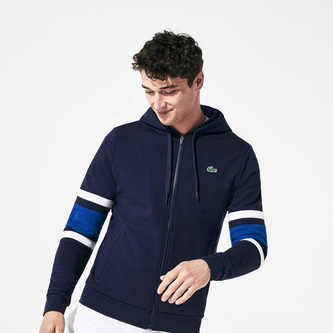 Lacoste Men's SPORT Striped-Sleeve Hooded Zip Sweatshirt - Fresh N Fitted